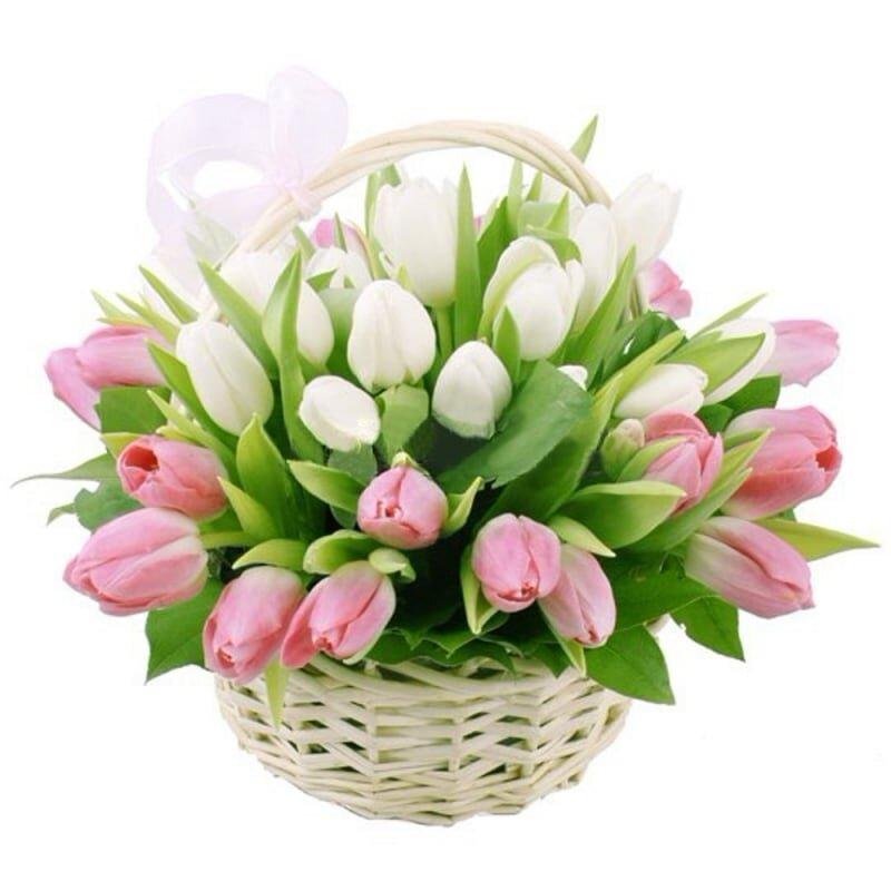 Корзина с тюльпанами Весна