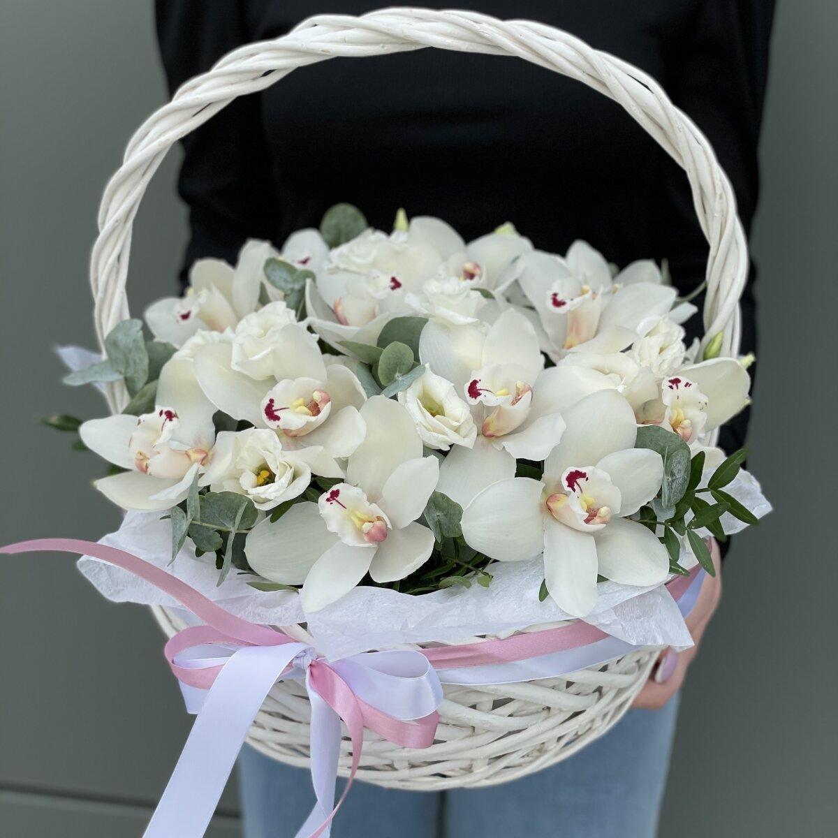 Корзина Волшебная орхидея из цимбидиума и зелени