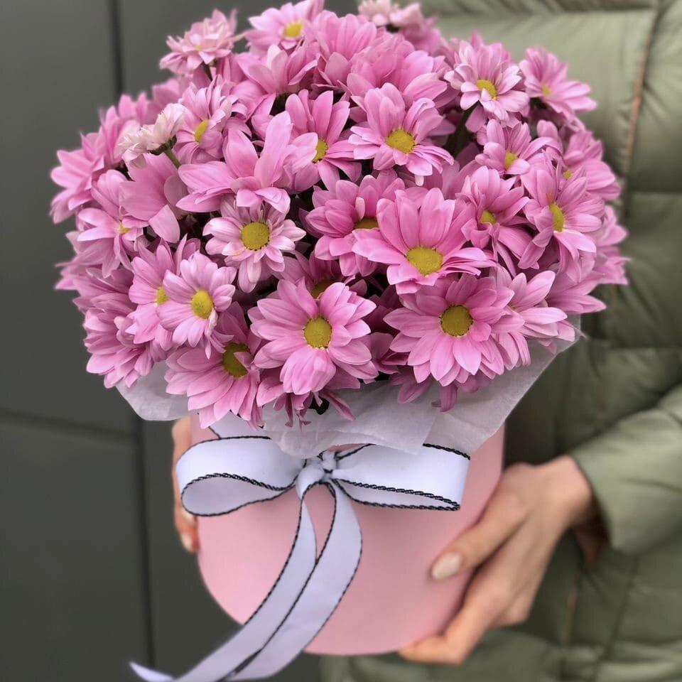 Коробка из розовых хризантем Энна