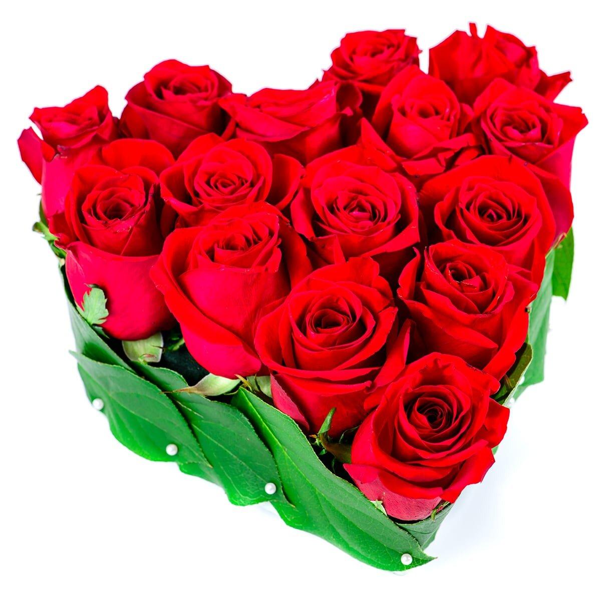 Сердце из 15 красных роз