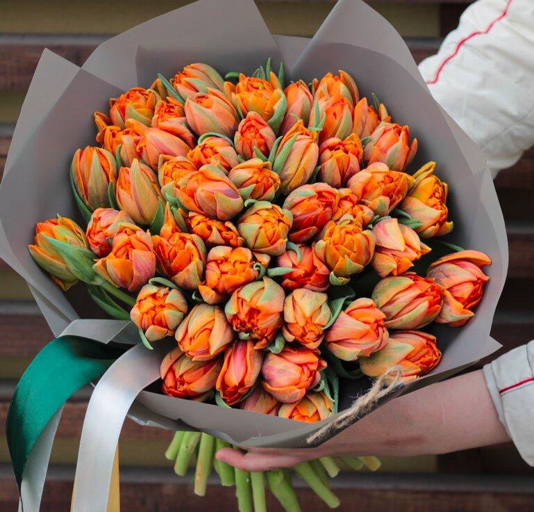 Букет пионовидных тюльпан Оранж макси
