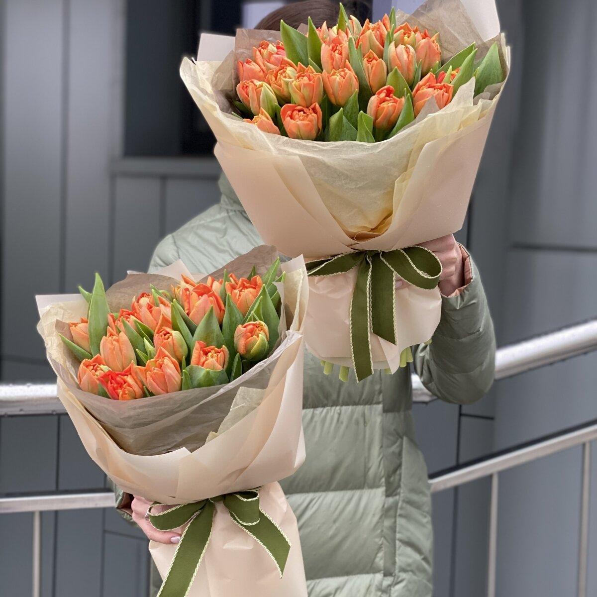 Букет Оранж из пионовидных тюльпанов 15 и 25 шт