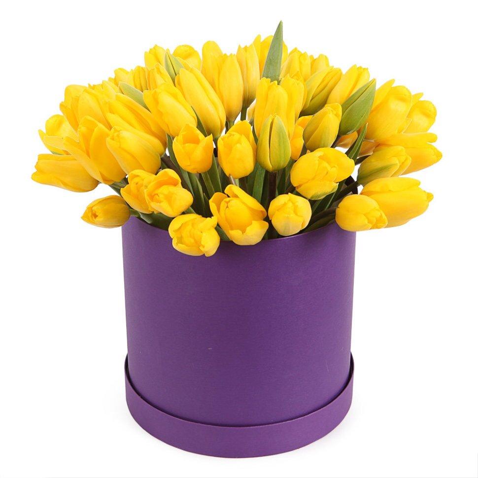 Коробка желтых тюльпанов Анжелика