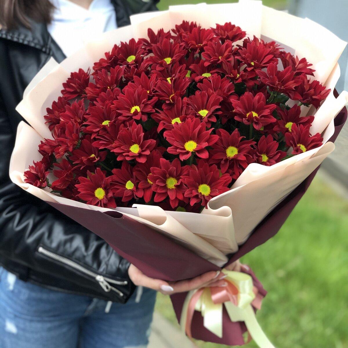 Букет их хризантемы Рубиновые звезды