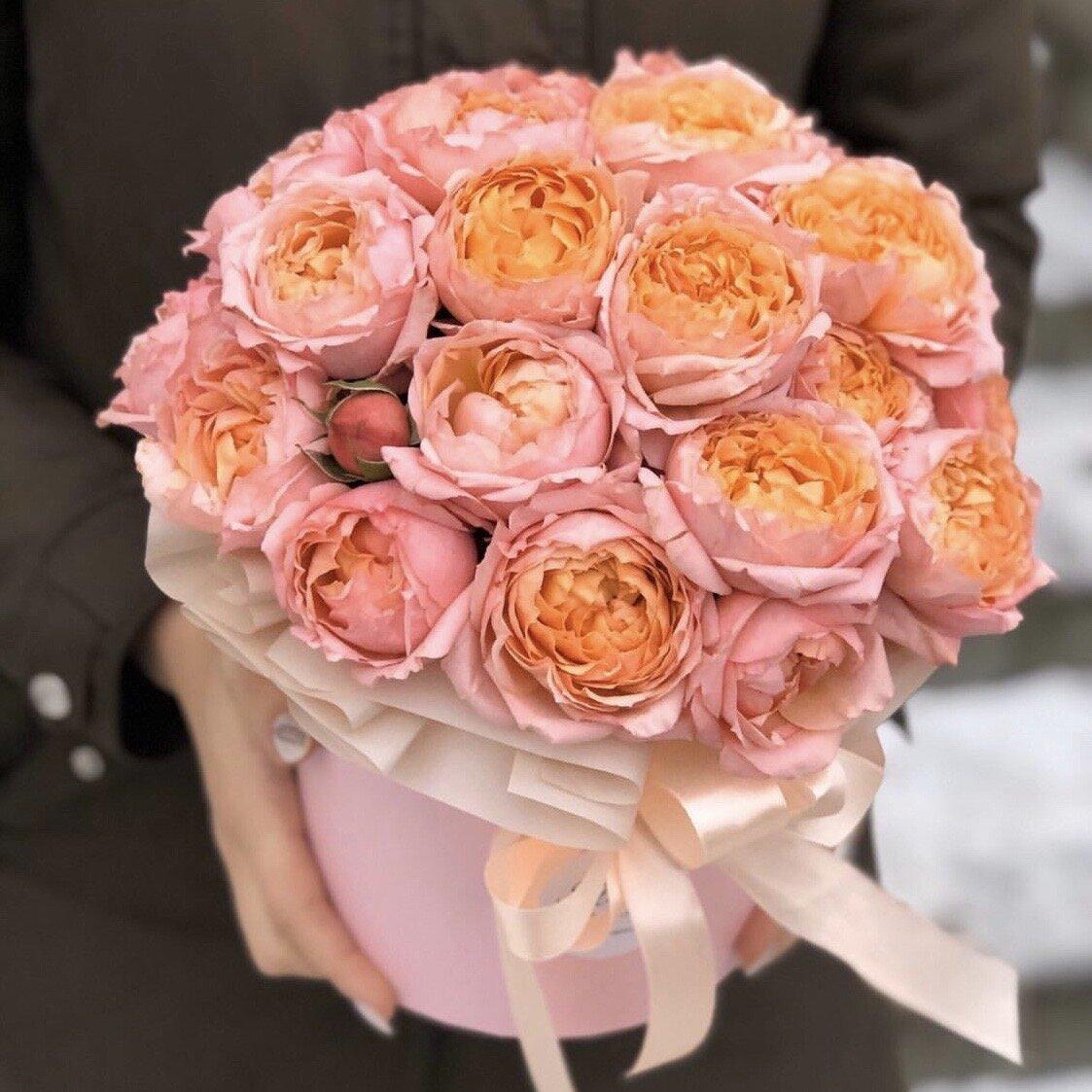 Коробка из пионовидной кустовой розы Мандаринка
