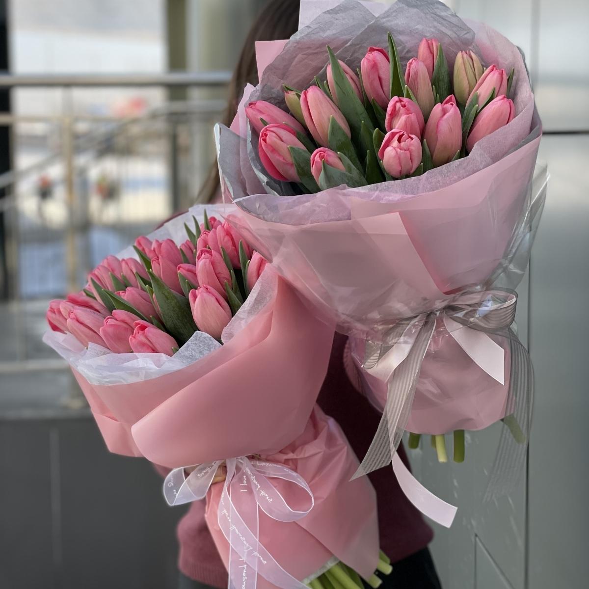 Букет Моя Весна из розовых тюльпанов