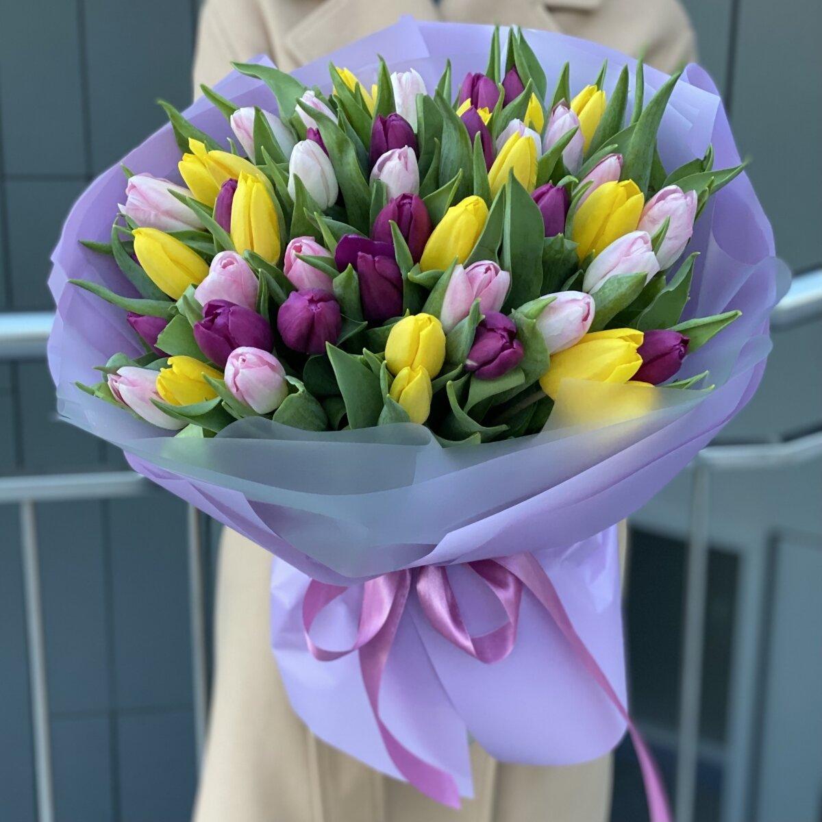 Букет Карандаши из 51 тюльпана микс
