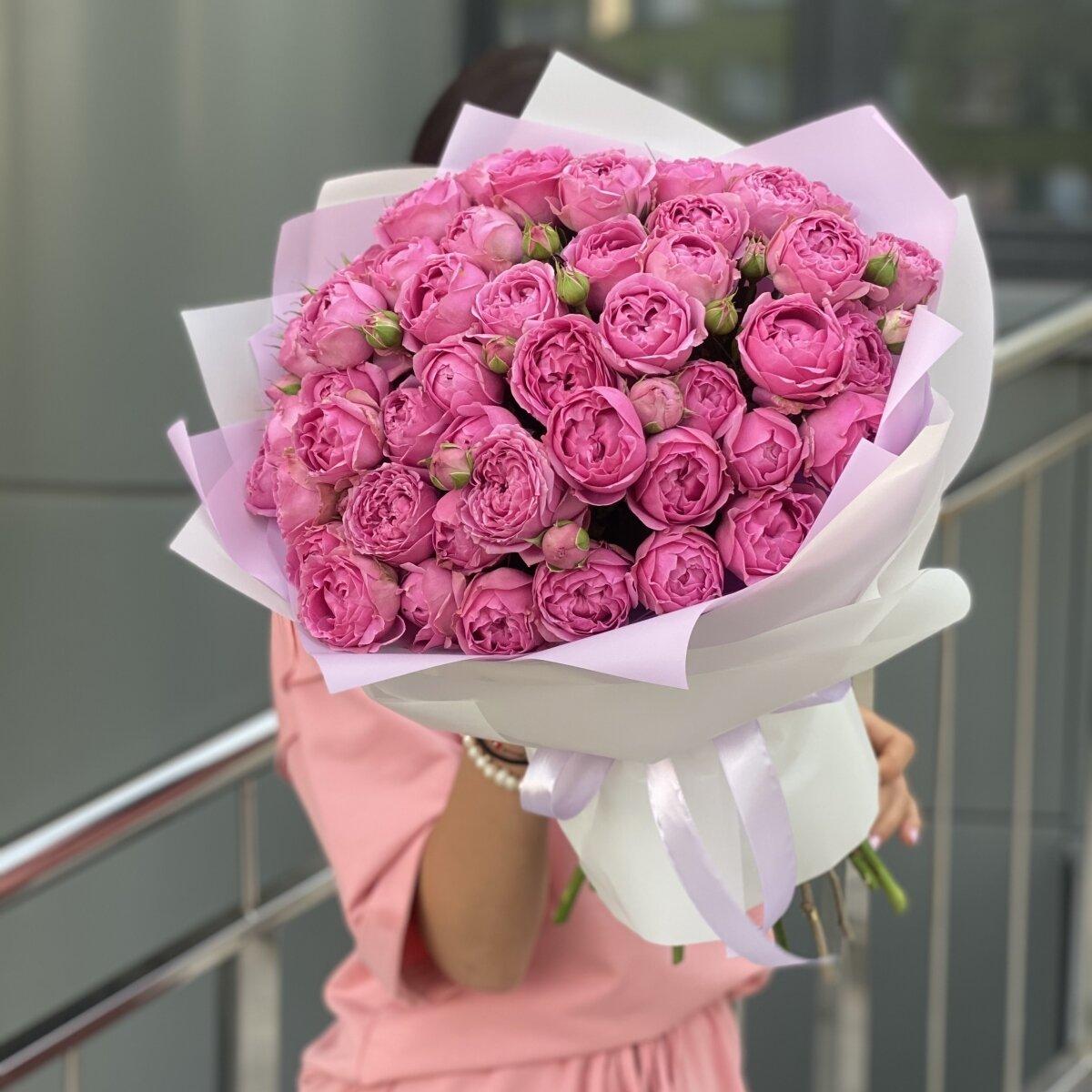 Букет Розовые сладости из 15 веток пионовидных роз