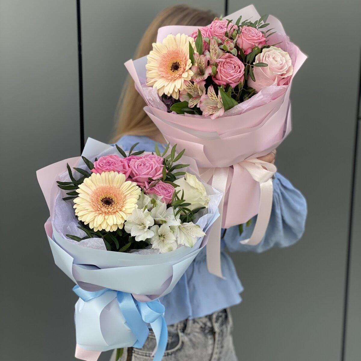 Букет Предвкушение из герберы, роз и альстромерии