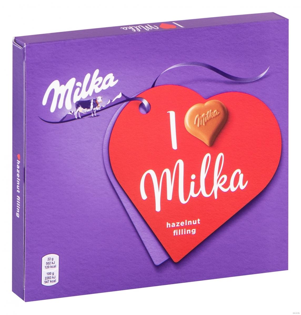 Конфеты Milka из молочного шоколада с ореховой начинкой