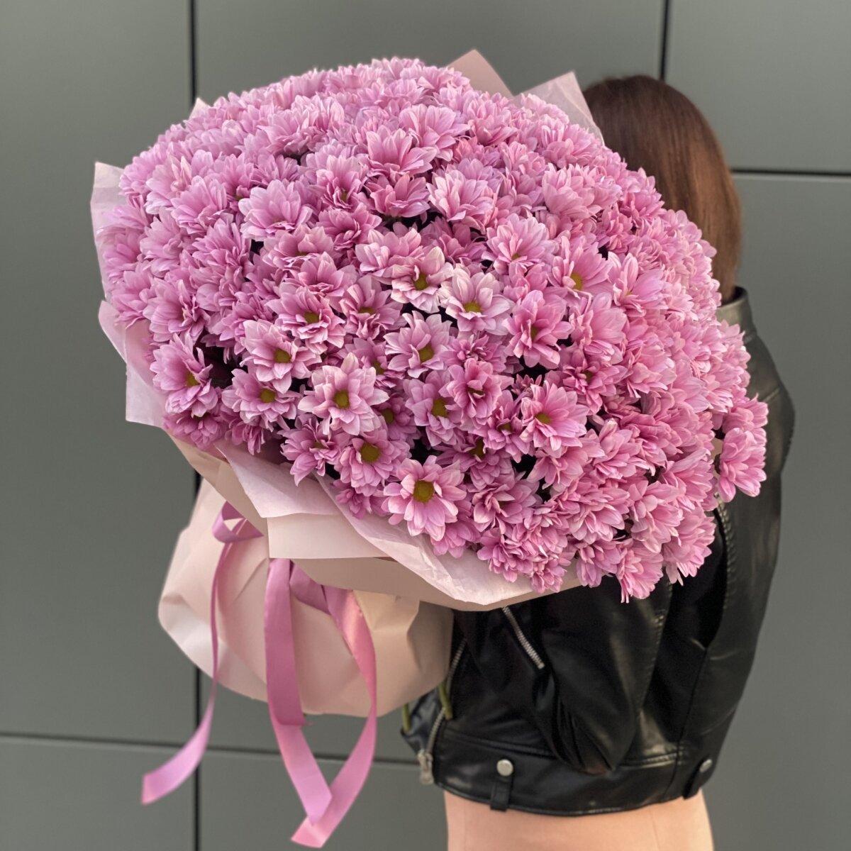 Букет Свежее Решение из 35 ветки розовой хризантемы